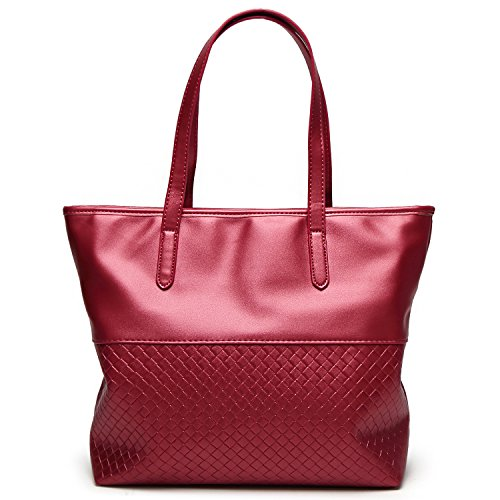 Women PU Leather Shoulder Bag Tote Satchel Red - 3