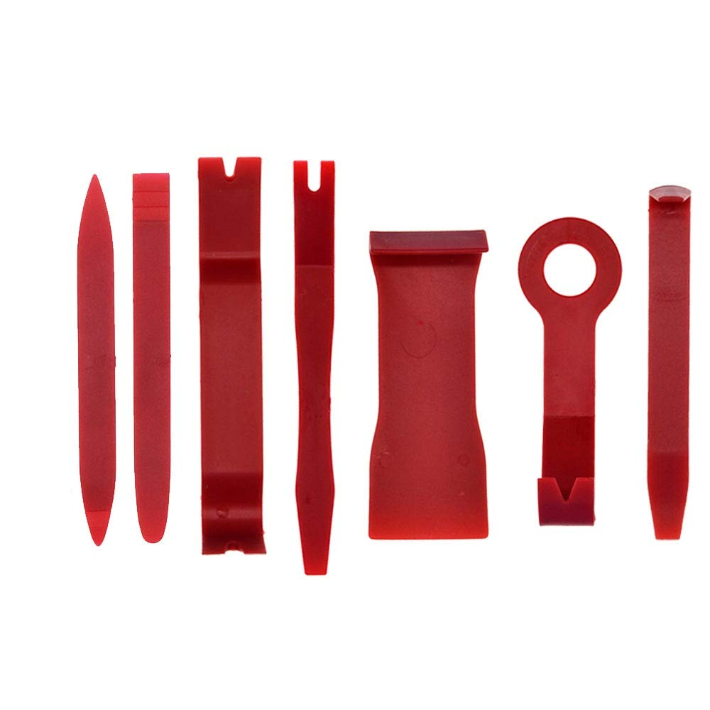 Ocamo 7Pcs/Set Tool Set Plastic Car Repair Tool Voiture Inside Door Plank Lever Auto Door Removal Tools red