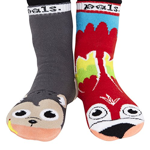 Silly Safari Bus (Kids No-Skid Socks - Mismatched Jungle Friends Monkey and Parrot Age 4-8)