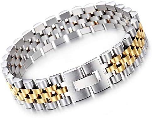 WANGLXTC Mode Titanstahl-Armband, Titanstahl-Art- und Weisearmband der Männer 1.5CM breites Ausgaben-Armband-Armband, Jahrestage oder eine Überraschung Exquisit