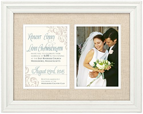 Wedding Invitation Time Frame - Malden International Designs Linen Invitation Washed Profile With Double Layer Linen and White Mat Picture Frame,2 Option, 2-5x7, White