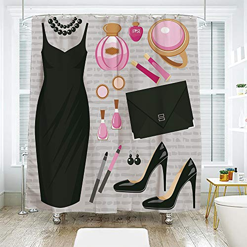 scocici Simple Creative Bath Curtain Suit Shade Curtain,Heels and Dresses,Black Smart Cocktail Dress Perfume Make Up Clutch Bag,Black Light Pink Light Brown,70.8
