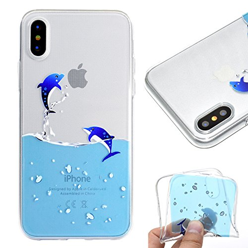 Dolphin Waterfall (Clear Soft Silicone Case for iPhone XS Max,Gostyle iPhone XS Max Case Cute Cartoon Blue Dolphin Pattern,Ultra Thin Lightweight Transparent Flexible TPU Bumper Shockproof Back Cover)
