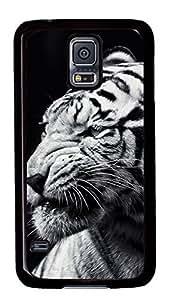 Diy Fashion Case for Samsung Galaxy S5,Black Plastic Case Shell for Samsung Galaxy S5 i9600 with Tiger