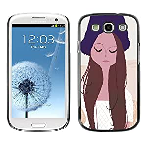 Paccase / SLIM PC / Aliminium Casa Carcasa Funda Case Cover - Girl Portrait Eyes Closed Hat Art Drawing - Samsung Galaxy S3 I9300