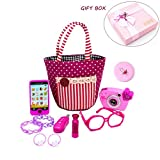 My First Purse Pretend Play Make up Set 11 PCS, Pretty Role Play Toy for Girls, Educational Pretend Toy for Preschoolers and Toddler Purse, Christmas, Birthday, New Year, Holiday Gift in Gift Box