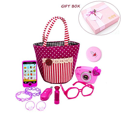 Camera Free Gift Set - My First Purse Pretend Play Make up Set 11 PCS, Pretty Role Play Toy for Girls, Educational Pretend Toy for Preschoolers and Toddler Purse, Christmas, Birthday, New Year, Holiday Gift in Gift Box