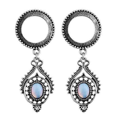 (CHoppyWAVE 1 Pair Ear Gauges Plugs,Vintage Faux Opal Dangle Flesh Tunnel Plug Ear Expander Piercing Jewelry 25mm)