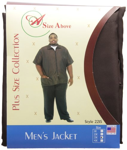A Size Above Big & Tall Barber Jacket, Chocolate Brown, 3X