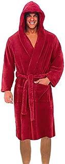H.eternal Men's Bathrobe Hooded Full Length Nightwear Dressing Gown Wrap Fleece Robe Sweatshirt Pajamas Sleepwear Warm Plush Shawl Kimono Bathrobe for Spa Christmas