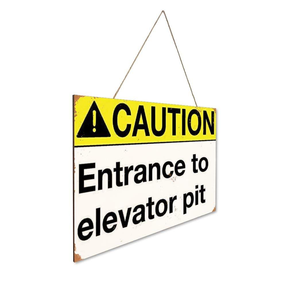 Mr.sign Caution Entrance to Elevator Pit Cartel de Madera ...