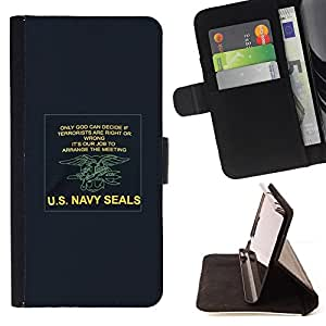 For Sony Xperia Z1 L39 Navy Seals Army War Poster U'S Blue Style PU Leather Case Wallet Flip Stand Flap Closure Cover