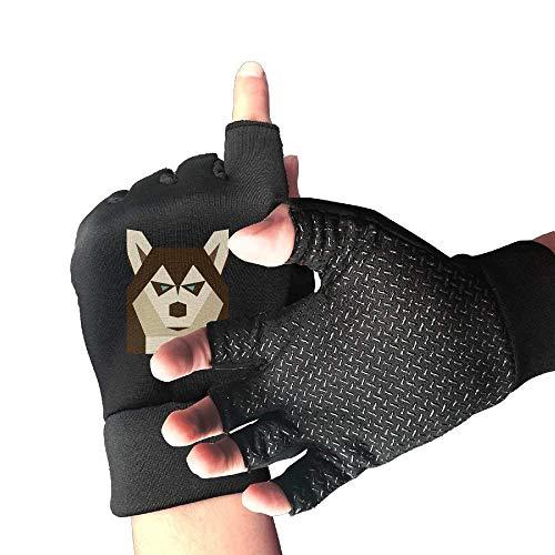 Novelty Siberian Husky Dog Half Finger Fingerless Gloves for Women Men Cycling Running Gaming Gloves ()