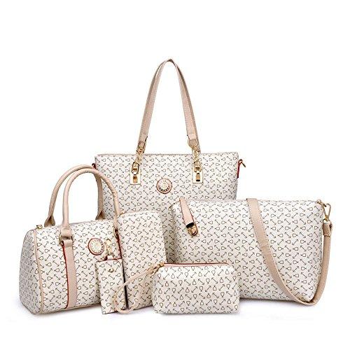 H&X Womens 6 Pcs Shoulder Bags Top-Handle Handbag Tote Purse Set