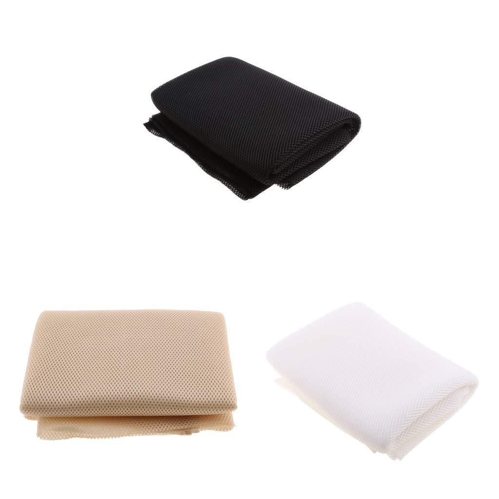 Baosity Speaker Grill Cloth Stereo Gille Fabric Speaker Mesh Cloth 1.4mx0.5m (Pack 3) Black+White+Khaki