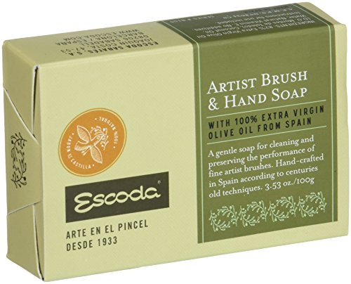 100g Soap Bar - Global Art Materials 530021 100G Bar Escoda Artist Brush & Hand Soap, 100gm, Natural