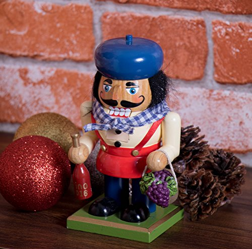 Traditional Wooden Chubby Italian Nutcracker by Clever Creations | Wine Bottle and Basket of Grapes | Festive Christmas Decor | 7'' Tall Perfect for Shelves and Tables by Clever Creations (Image #4)