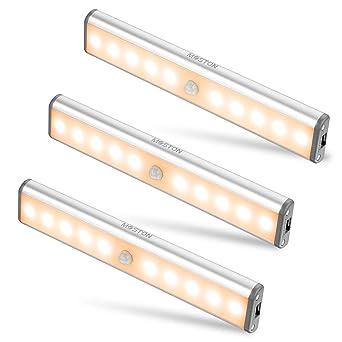 Moston 10 LED USB Recargable magnético Movimiento Sensor Luces nocturnas,oscuridad a amanecer Célula fotoeléctrica