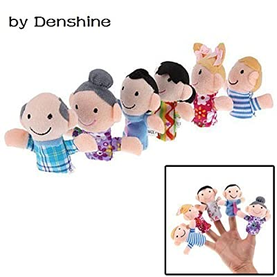 Family Finger Puppets - People Includes Mom, Dad, Grandpa, Grandma, Brother, Sister Multicolor, 6PCS by Denshine