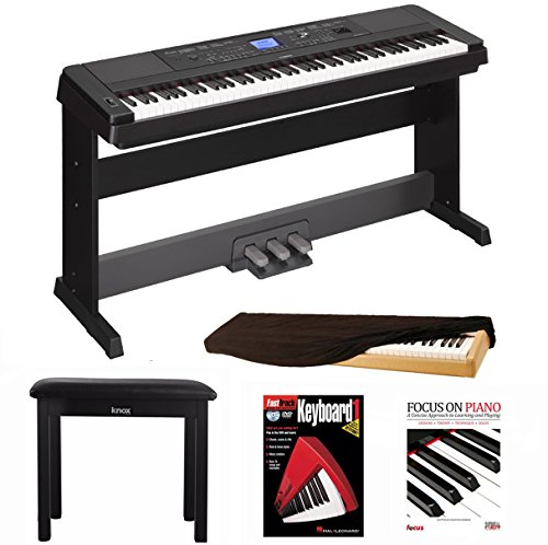 Yamaha DGX660B 88 Key Grand Digital Piano Bundle with Yamaha LP7A 3 Pedal Unit ,Knox Bench,Dust Cove