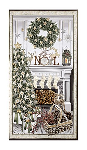 Wreath Fabric Panel (Timeless Treasures White Christmas Metallic Christmas Mantel 23in Panel Cream Fabric)