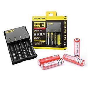 NiteCore I4 cargador inteligente nueva versión + 4 x L'lysColors baterías recargables 18650 de alto rendimiento de iones de litio
