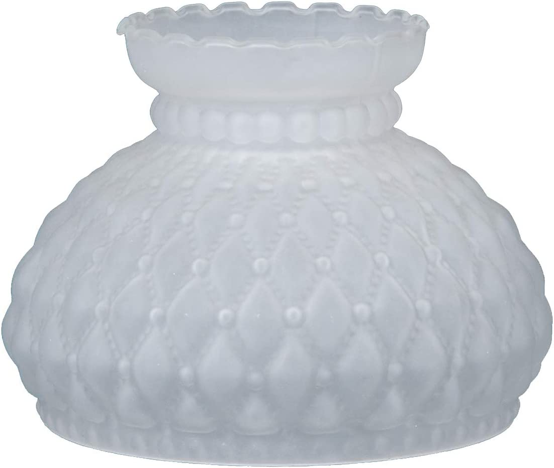 B P Lamp 7 Inch Fitter Satin Frosted Glass Diamond Quilted Pattern Student Shade with Crimped Top
