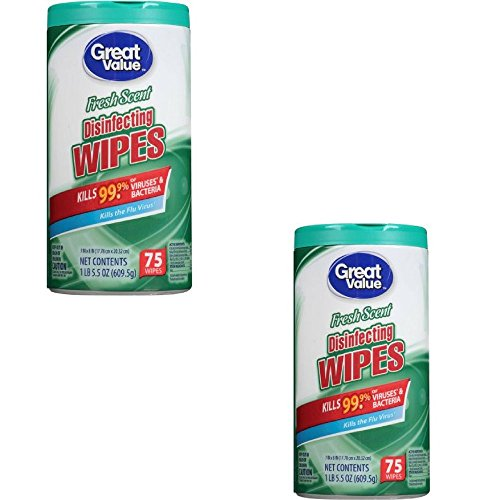 Great Value Fresh Scent Disinfecting Wipes, 75ct 4.25 x 4.25 x 8.26 Inches (2Pack)