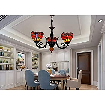 YJFFAN Vintage Tiffany Style 3 Arms Chandelier Ceiling Lamp 100% Handmade Glass Dragonfly Shade Pendant Light Fixtures for Living Room, Dining Room, Bar, Club E27