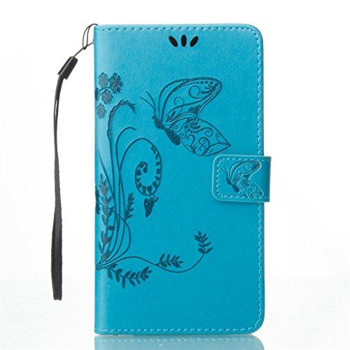 Erdong® Magnético Folio Flip Caso Con pata de cabra titular de la tarjeta Para Asus Zenfone 3 ZE552KL 5.5, Elegant Simple Book-style [Azul flor de mariposa] patrón de impresión cuero del soporte Foli