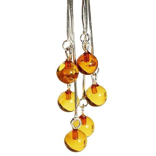 Triple cadena colgante para forma de pelota de miel ámbar ...