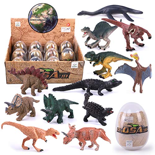REMOKING 3D Dinosaur Eggs Play Set-STEM Educational Toys -Dinosaur for Party Favor, Easter Eggs Hunt, Basket Stuffers Fillers, Classroom Prize Supplies 12 Pcs,Top Dinosaur Gift Set