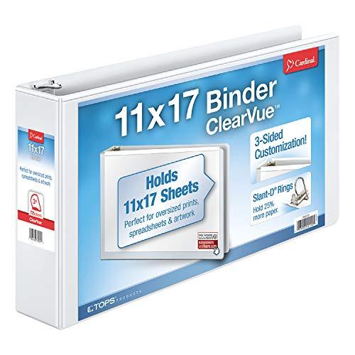 - Cardinal 11-Inch x 17-Inch ClearVue Slant-D Ring Binder, 3-Inch, White (22142V3)