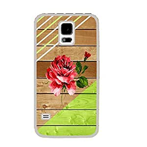 Customized Stripe Design for Samsung Galaxy S5 I9600 Hard Wood Pattern Print Cell Phone Case Cover (rose white ju5242)