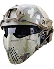 Hifuture Tactical Mask Full Face Dual Mode Lightweight Breathable Stability High Impact Resistance Tactical Camouflage Protection Mask for TacticalEquipment MovieProps OutdoorLeisure