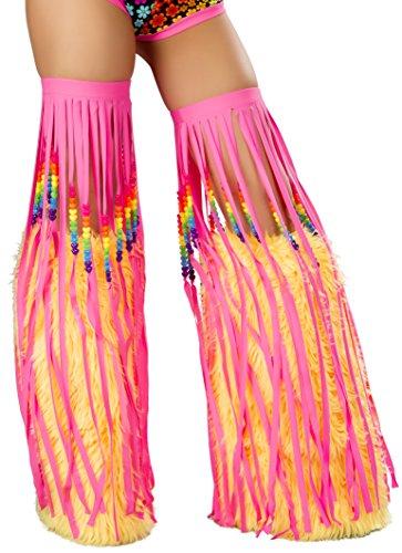 80's Raver Costume (J. Valentine Women's Beaded Fringe Leggings, Pink, One Size)