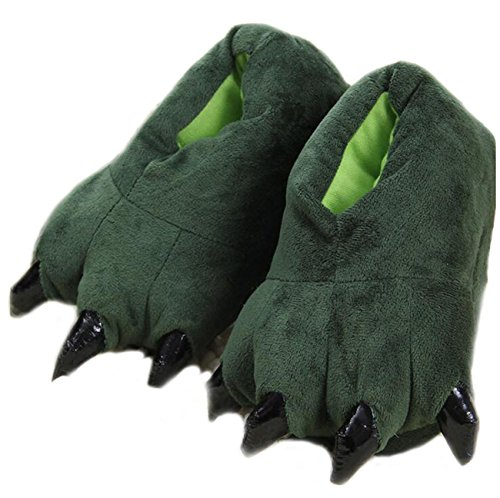 Costume Unisex Green LANFIRE Soft Shoes Plush Paw Home Animal Claw Slippers aSdTYqxw