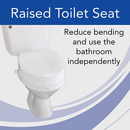 Homecraft Savanah Raised Toilet Seat with Lid, 4'' High Elevated Toilet Seat Locks Onto Most Toilets, Portable Assistance Seat with Sturdy Brackets, Medical Aid for Elderly, Disabled, Limited Mobility by Sammons Preston (Image #1)