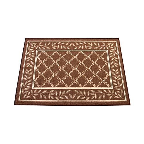 (Two-Tone Lattice Rug with Leaf Border with Skid-Resistant Backing, Home Decor and Floor Protection, Chocolate, 26