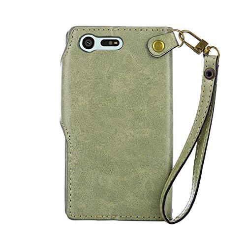 MEIRISHUN Leather Wallet Case Cover Carcasa Funda con Ranura de Tarjeta Cierre Magnético y función de soporte para Sony Xperia Xmini - Rosado Verde claro