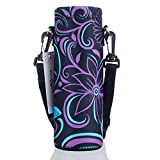 AUPET Water Bottle Carrier,Purple Flower 500ML Water Sport Bottle Cover Pouch Insulated Soft Sleeve Holder Case +Shoulder Strap