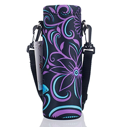 AUPET Water Bottle Carrier,Purple Flower 500ML Water Sport Bottle Cover Pouch Insulated Soft Sleeve Holder Case +Shoulder ()