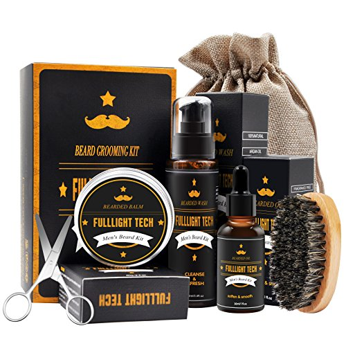 Beard Grooming & Trimming Kit for Men Beard Care Gift Set with Scented Beard Wax/Balm Beard Softening Oil Conditioner Beard Bristle Brush+Shampoo/Wash+Mustache Scissors for Styling & Growth