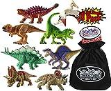 Schleich Mini Dino (Dinosaur) Figures T-Rex, Velociraptor, Stegosaurus, Spinosaurus, Triceratops, Quetzalcoatlus, Saichania & Pentaceratops Gift Set Bundle with Matty s Toy Stop Storage Bag - 8 Pack
