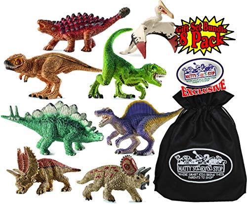 (Schleich Mini Dino (Dinosaur) Figures T-Rex, Velociraptor, Stegosaurus, Spinosaurus, Triceratops, Quetzalcoatlus, Saichania & Pentaceratops Gift Set Bundle with Matty's Toy Stop Storage Bag - 8 Pack)