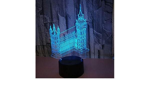 Edificio creativo 3D Big Ben Luces nocturnas coloridas 7 Color Led Lámpara de mesa Acrílico Base Abs Carga USB Decoración del hogar Juguetes Navidad Niños Regalos: Amazon.es: Iluminación