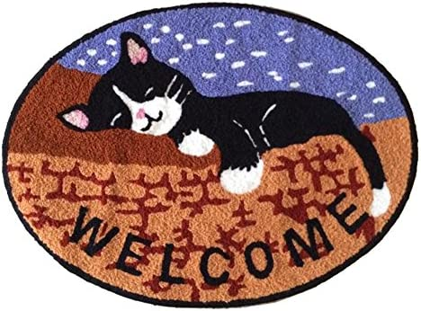 Sleeping Cat Bedroom Anti-Slip Area Rug Round Floor Mats,Tabby Cat Art Bedroom Carpet 31.5-inch by 23.6-inch Brown