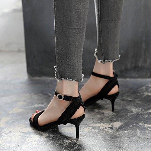 GTVERNH-in estate una fibbia d'accordo con i sandali donne con 6cm estate scarpe col tacco alto le scarpe aria zichao trentotto nero -