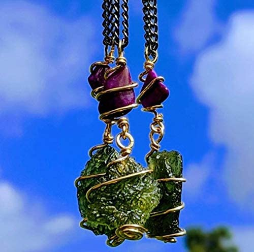 Abstract Selenite and Moldavite Pendant