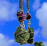 MOLDAVITE & SUGILITE Pendant in Real Gold! 12 Kt